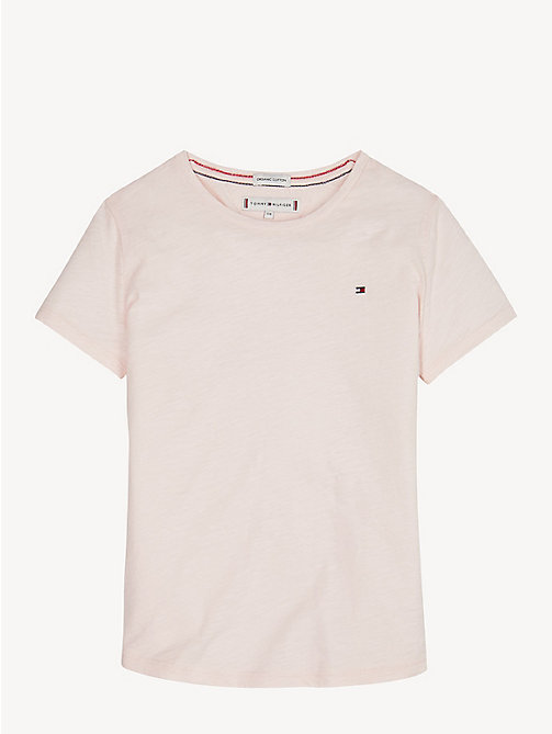 TOMMY HILFIGER Organic Cotton Crew Neck T-Shirt - BARELY PINK - TOMMY HILFIGER Trousers, Shorts & Skirts - main image