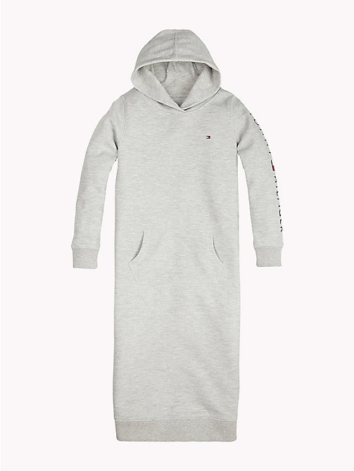 TOMMY HILFIGER Sports Logo Sleeve Hooded Dress - GREY HEATHER - TOMMY HILFIGER Girls - detail image 1