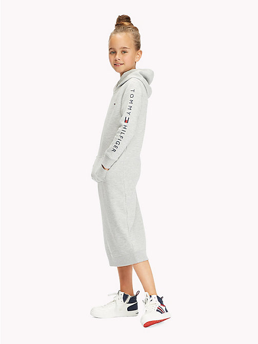TOMMY HILFIGER Sports Logo Sleeve Hooded Dress - GREY HEATHER - TOMMY HILFIGER Girls - main image