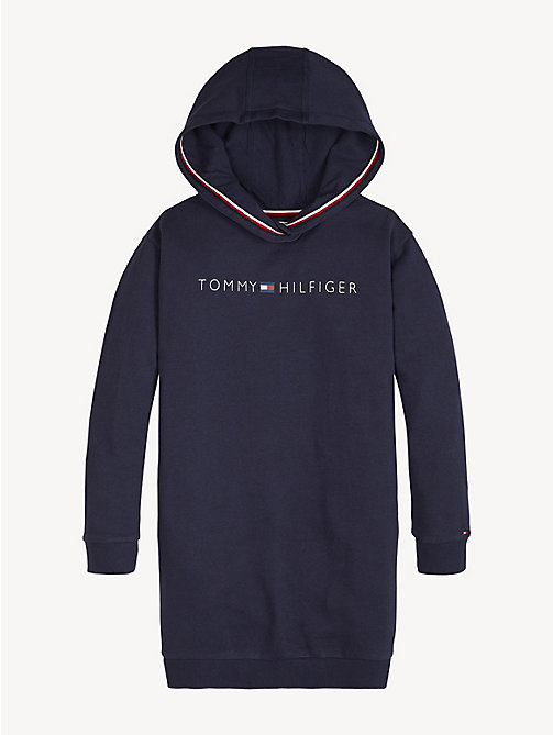 TOMMY HILFIGER Tommy Hilfiger Logo Hoody Dress - BLACK IRIS - TOMMY HILFIGER Trousers, Shorts & Skirts - detail image 1