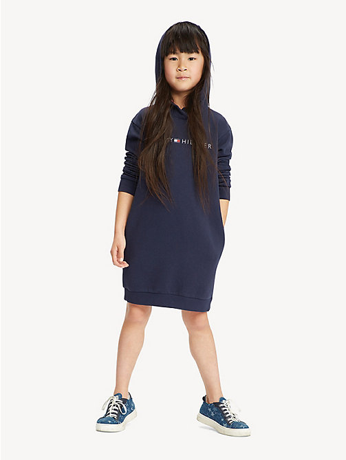 TOMMY HILFIGER Tommy Hilfiger Logo Hoody Dress - BLACK IRIS - TOMMY HILFIGER Trousers, Shorts & Skirts - main image
