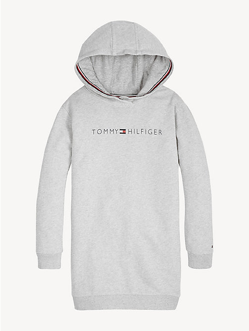TOMMY HILFIGER Tommy Hilfiger Logo Hoody Dress - LIGHT GREY HTR - TOMMY HILFIGER Trousers, Shorts & Skirts - main image