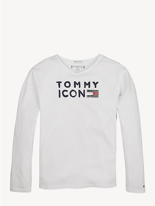 TOMMY HILFIGER Icon Logo Long Sleeve T-Shirt - BRIGHT WHITE - TOMMY HILFIGER Tops & T-shirts - main image