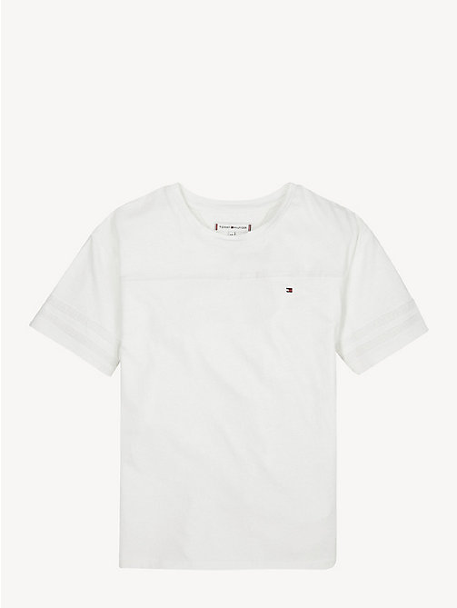 TOMMY HILFIGER Cotton Mesh Tape T-Shirt - BRIGHT WHITE - TOMMY HILFIGER Tops & T-shirts - main image