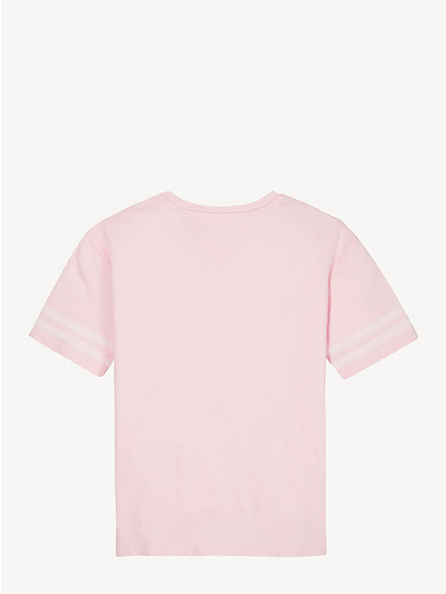 TOMMY HILFIGER Cotton Mesh Tape T-Shirt - ALMOND BLOSSOM - TOMMY HILFIGER Tops & T-shirts - detail image 1