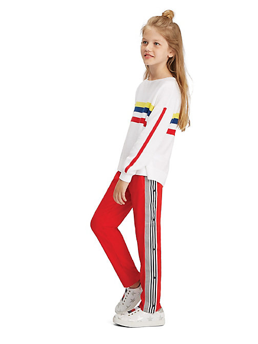TOMMY HILFIGER Stripe Snap-Button Trousers - TRUE RED - TOMMY HILFIGER Trousers, Shorts & Skirts - main image