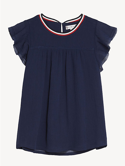 TOMMY HILFIGER Butterfly Sleeve Chiffon Top - BLACK IRIS - TOMMY HILFIGER Tops & T-shirts - main image