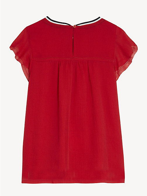 TOMMY HILFIGER Butterfly Sleeve Chiffon Top - TRUE RED - TOMMY HILFIGER Tops & T-shirts - detail image 1