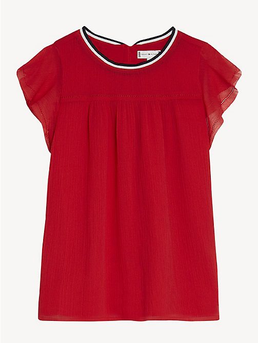 TOMMY HILFIGER Butterfly Sleeve Chiffon Top - TRUE RED - TOMMY HILFIGER Tops & T-shirts - main image