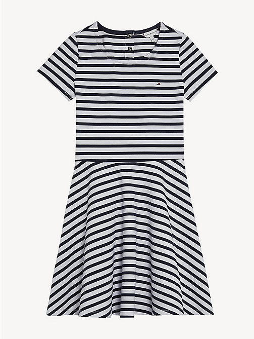 TOMMY HILFIGER Essential Stripe Skater Dress - BLACK IRIS - TOMMY HILFIGER Dresses - detail image 1
