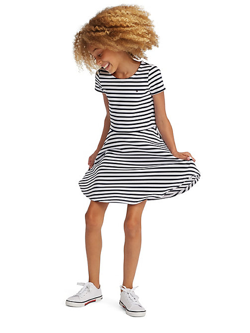 TOMMY HILFIGER Essential Stripe Skater Dress - BLACK IRIS - TOMMY HILFIGER Dresses - main image