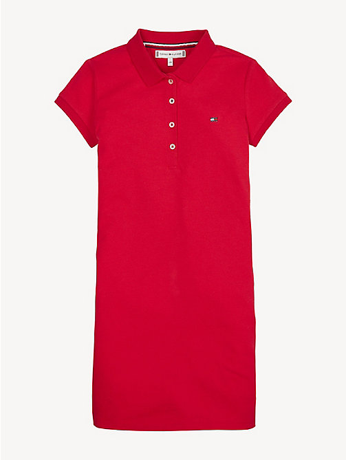 TOMMY HILFIGER Essential Polo Dress - TRUE RED - TOMMY HILFIGER Dresses - main image