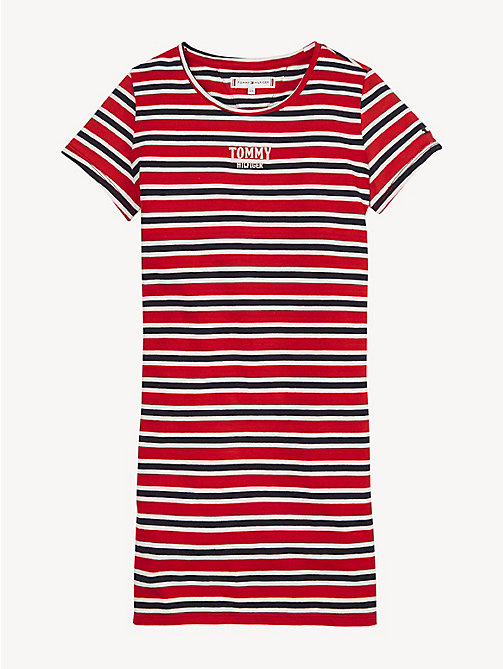 TOMMY HILFIGER Stripe Print T-Shirt Dress - TRUE RED - TOMMY HILFIGER Dresses - main image