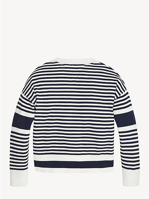 TOMMY HILFIGER Stripe Embroidered Logo Jumper - BRIGHT WHITE - TOMMY HILFIGER Knitwear - detail image 1