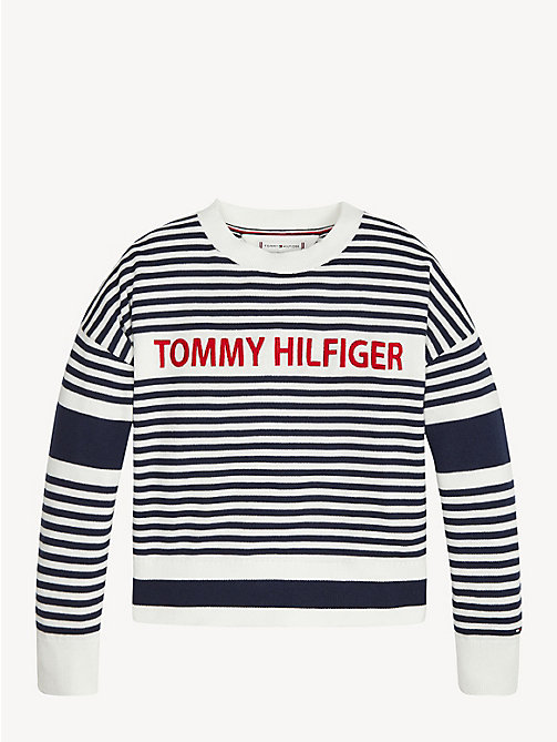 TOMMY HILFIGER Stripe Embroidered Logo Jumper - BRIGHT WHITE - TOMMY HILFIGER Knitwear - main image
