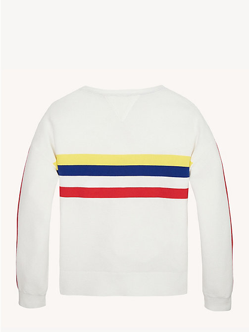TOMMY HILFIGER Pure Cotton Retro Stripe Jumper - BRIGHT WHITE - TOMMY HILFIGER Knitwear - detail image 1
