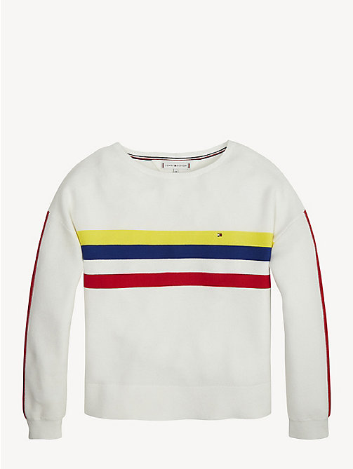 TOMMY HILFIGER Pure Cotton Retro Stripe Jumper - BRIGHT WHITE - TOMMY HILFIGER Knitwear - main image