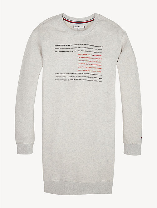 TOMMY HILFIGER Flag Slogan Sweatshirt Dress - LIGHT GREY HTR - TOMMY HILFIGER Dresses - main image