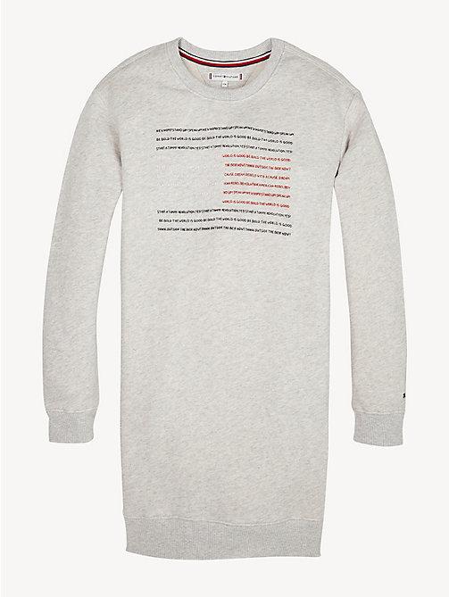 6a40d7c5aed612 grey sweaterjurk met sloganvlag voor meisjes - tommy hilfiger