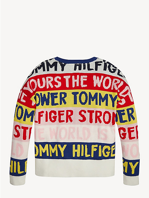 TOMMY HILFIGER Graphic Print Jumper - TRUE RED - TOMMY HILFIGER Knitwear - detail image 1