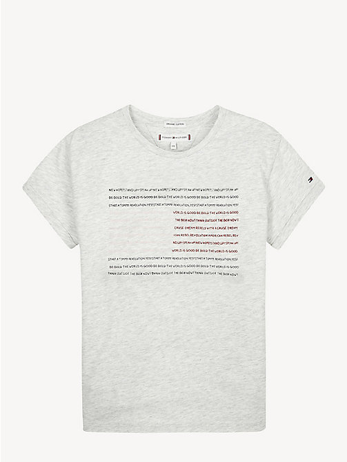 TOMMY HILFIGER Empowering Slogan Organic Cotton T-Shirt - LIGHT GREY HTR - TOMMY HILFIGER Tops & T-shirts - main image