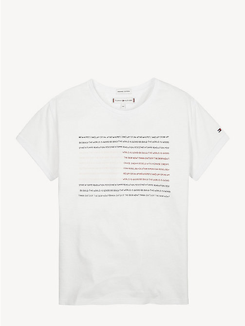 TOMMY HILFIGER Empowering Slogan Organic Cotton T-Shirt - BRIGHT WHITE - TOMMY HILFIGER Tops & T-shirts - main image