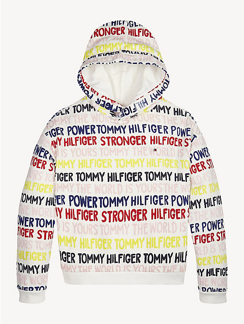 TOMMY HILFIGER Graphic Text Print Hoody - BRIGHT WHITE - TOMMY HILFIGER Sweatshirts & Hoodies - main image