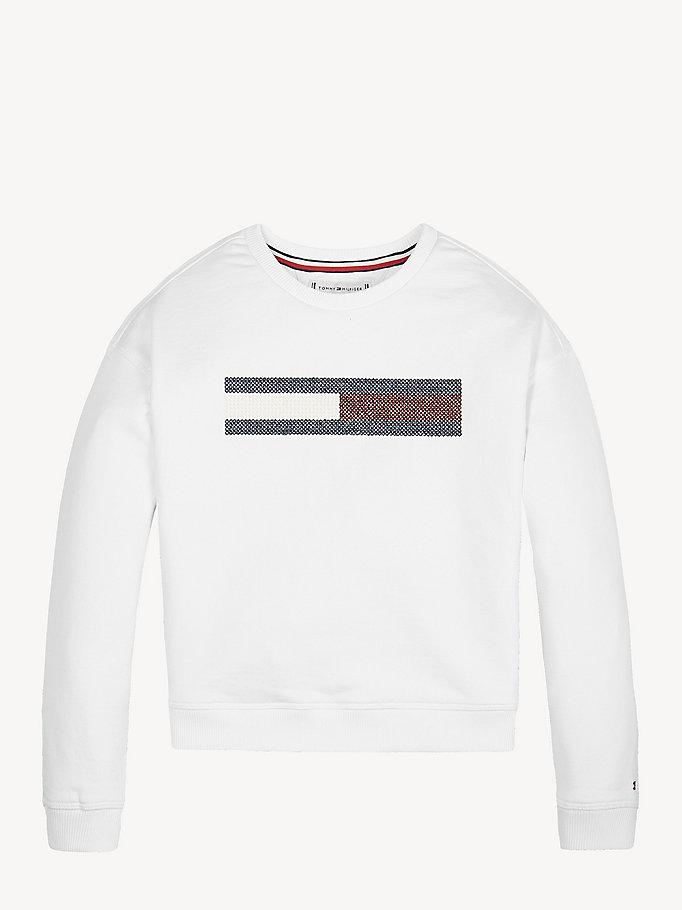 b36c4624 Metallic Flag Sweatshirt | BRIGHT WHITE | Tommy Hilfiger
