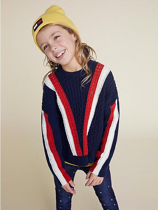 692933731f white farbblock-pullover mit zopfmuster für girls - tommy hilfiger