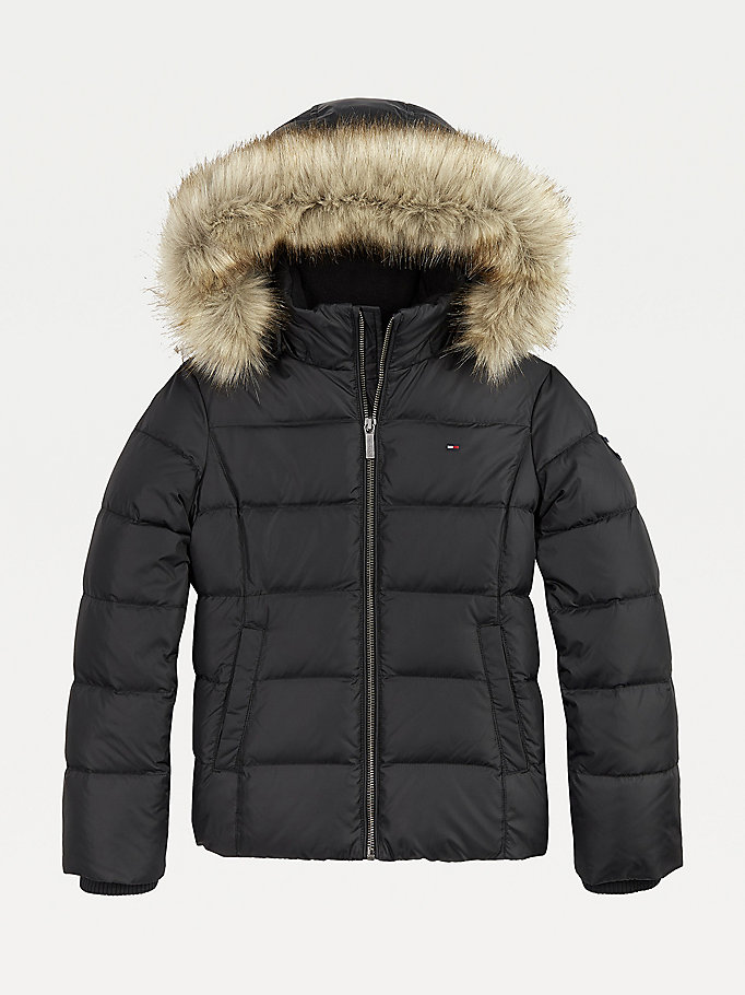 black essential quilted down-filled hooded jacket for girls tommy hilfiger