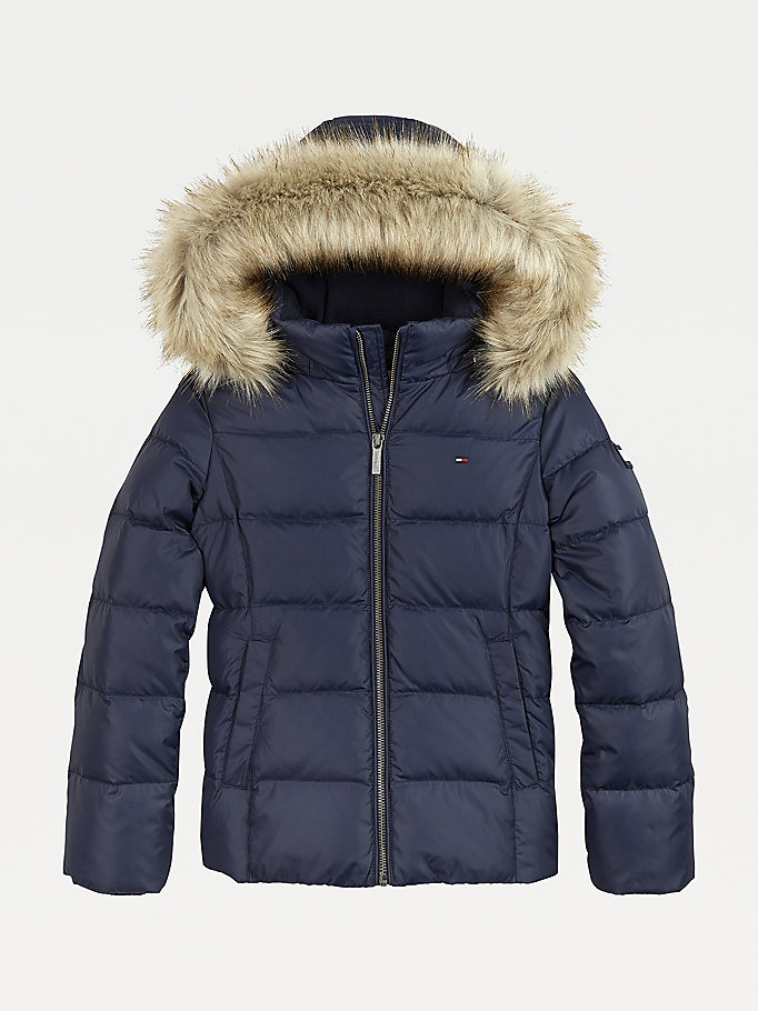blue essential quilted down-filled hooded jacket for girls tommy hilfiger