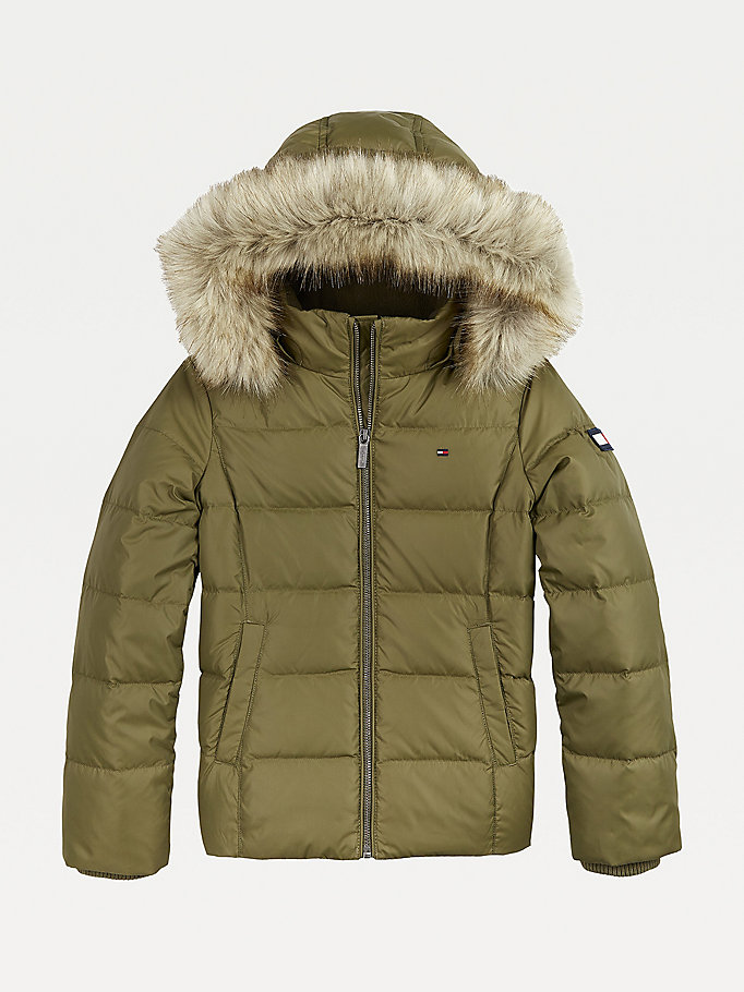 green essential quilted down-filled hooded jacket for girls tommy hilfiger