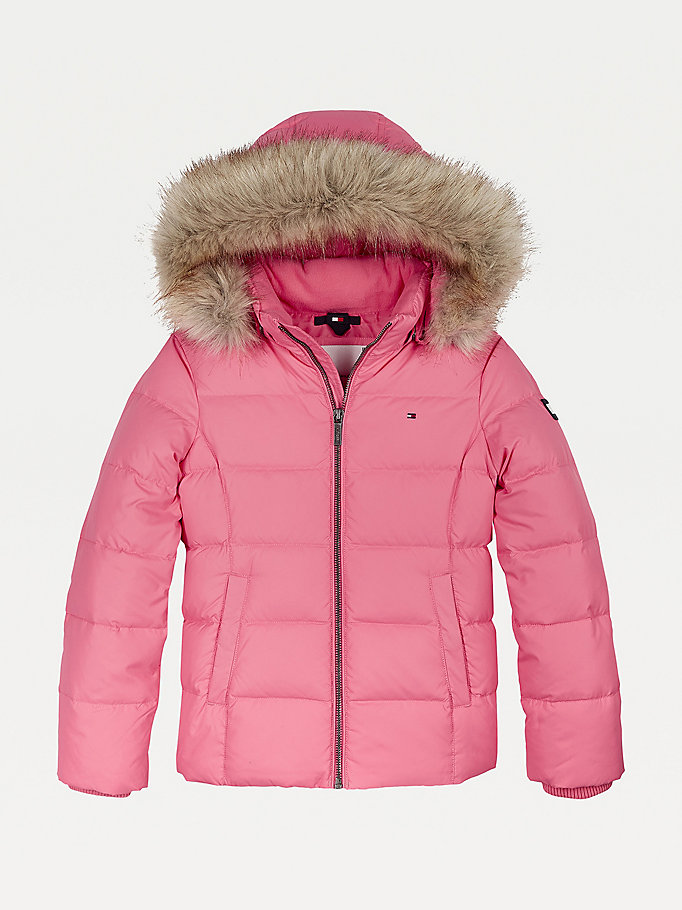 pink essential quilted down-filled hooded jacket for girls tommy hilfiger