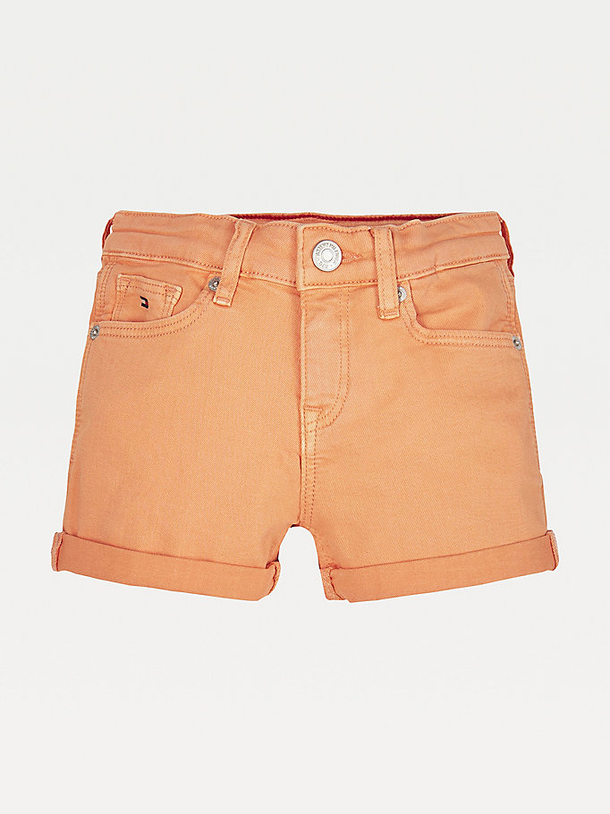 orange nora water repellent shorts for girls tommy hilfiger