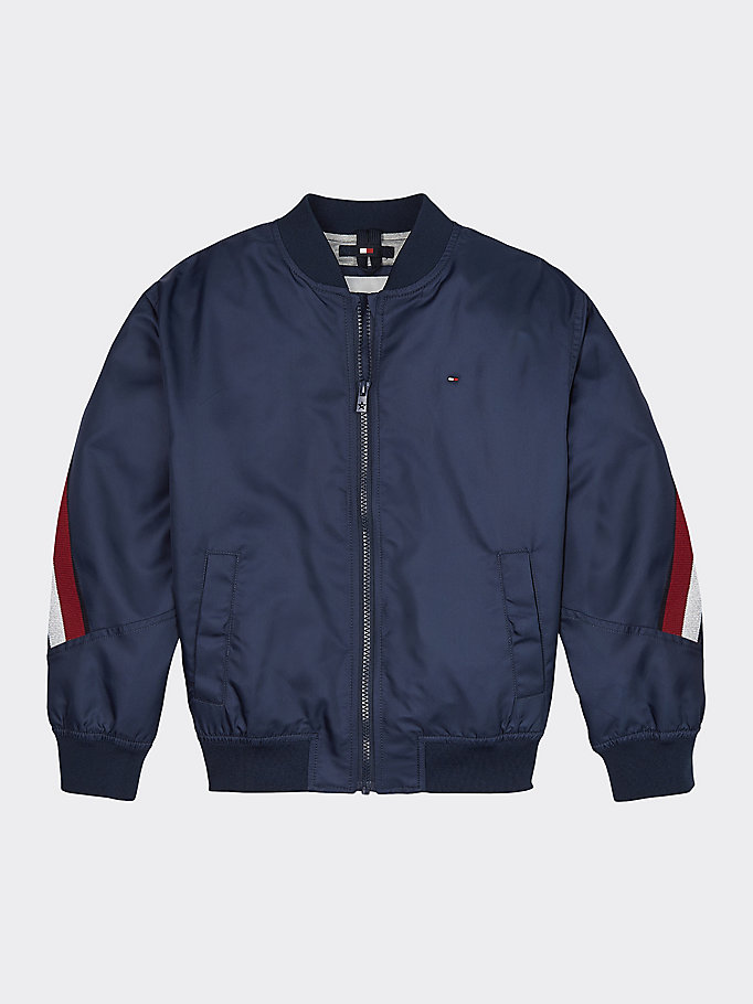 blue signature tape bomber jacket for girls tommy hilfiger