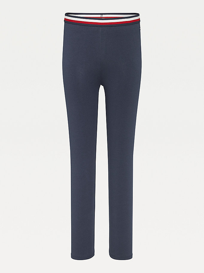 blue essential organic cotton leggings for girls tommy hilfiger
