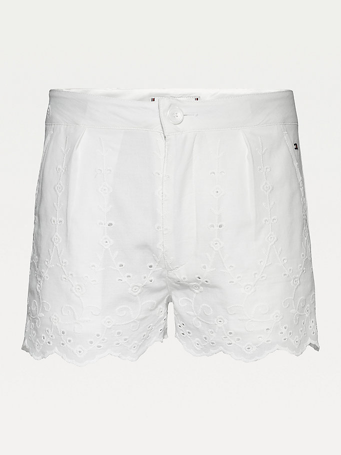 white organic cotton broderie anglaise shorts for girls tommy hilfiger