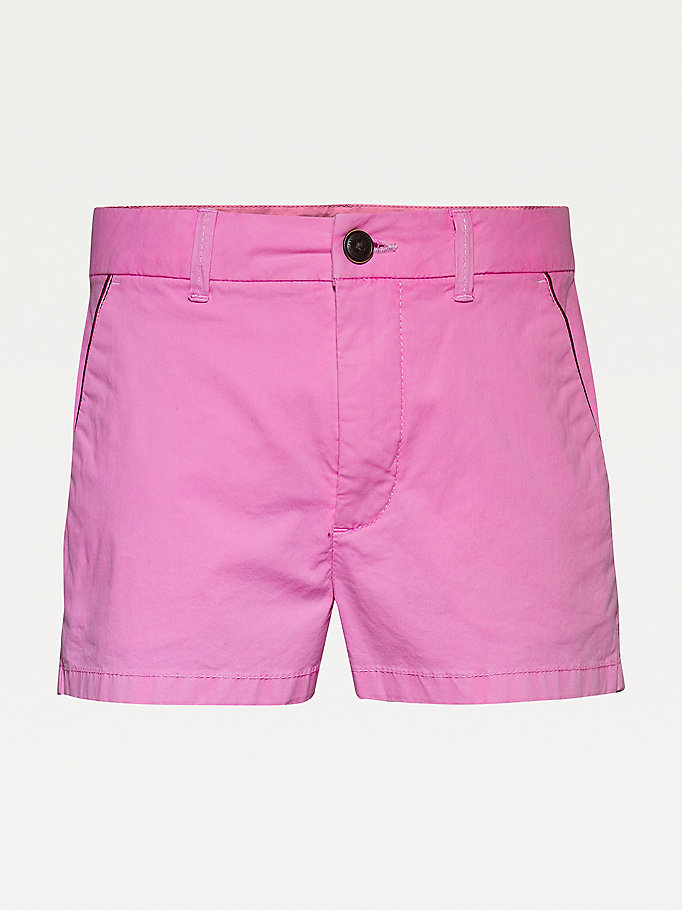 rosa essential chino-shorts für girls - tommy hilfiger