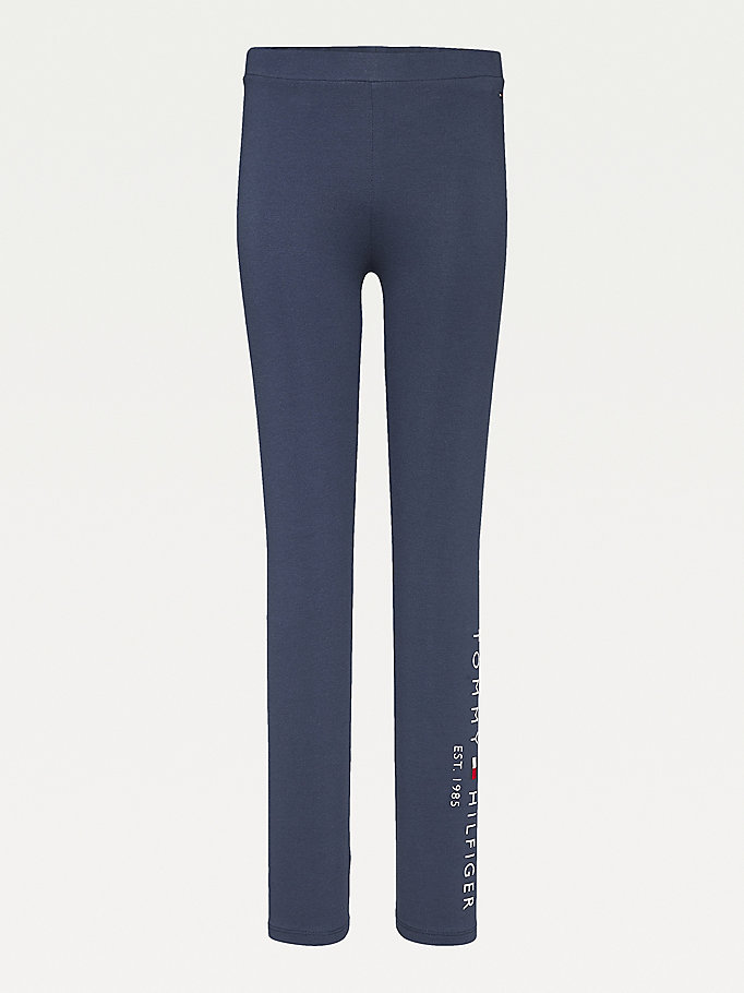 blue essential organic cotton logo leggings for girls tommy hilfiger