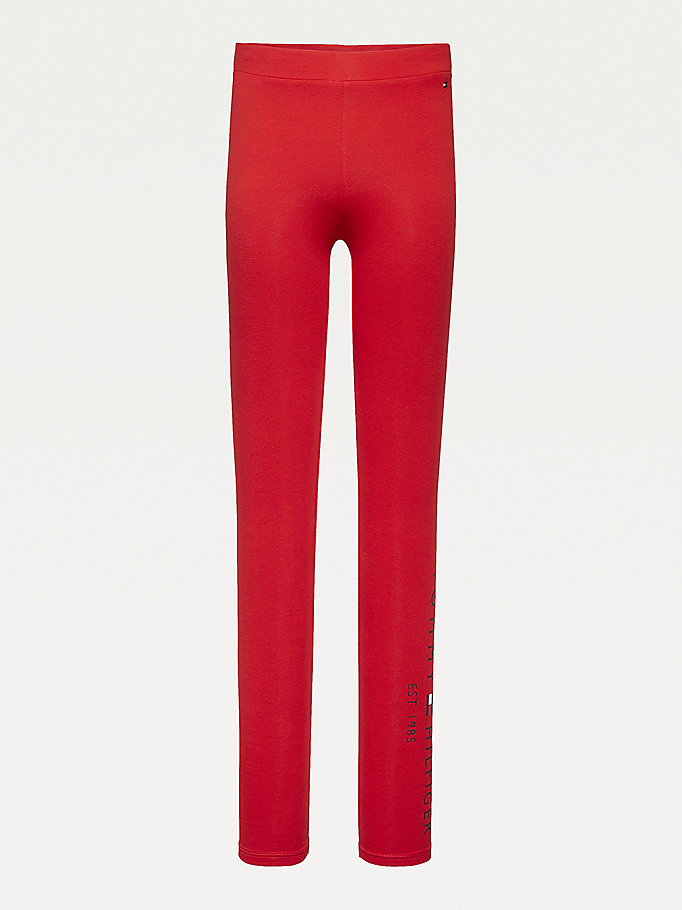 red essential 1985 logo full length leggings for girls tommy hilfiger