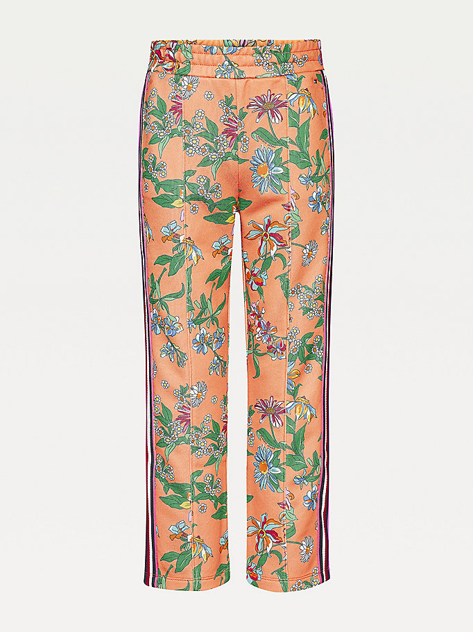 orange floral print signature tape joggers for girls tommy hilfiger