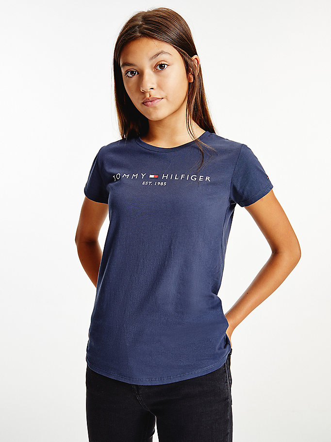 blue essential organic cotton logo t-shirt for girls tommy hilfiger