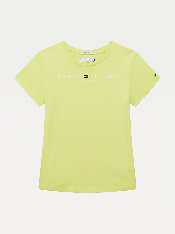green essential organic cotton logo t-shirt for girls tommy hilfiger