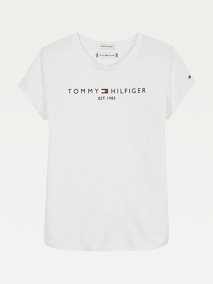 white essential organic cotton logo t-shirt for girls tommy hilfiger
