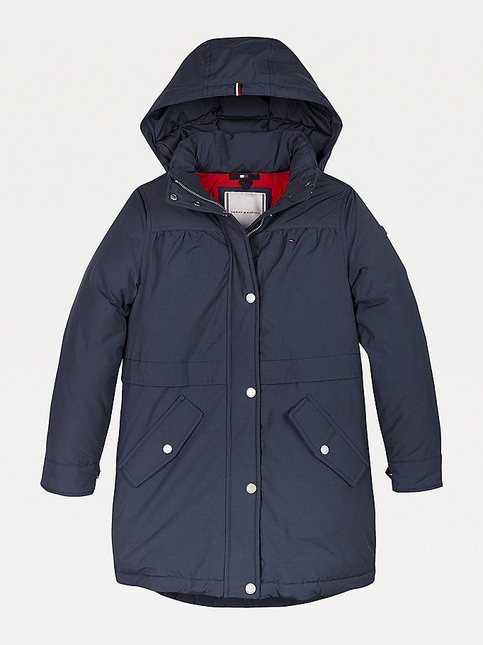 blue th tech padded parka for girls tommy hilfiger