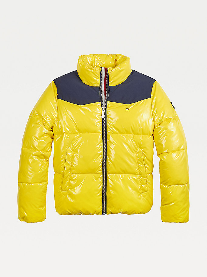 yellow high-shine puffer jacket for girls tommy hilfiger