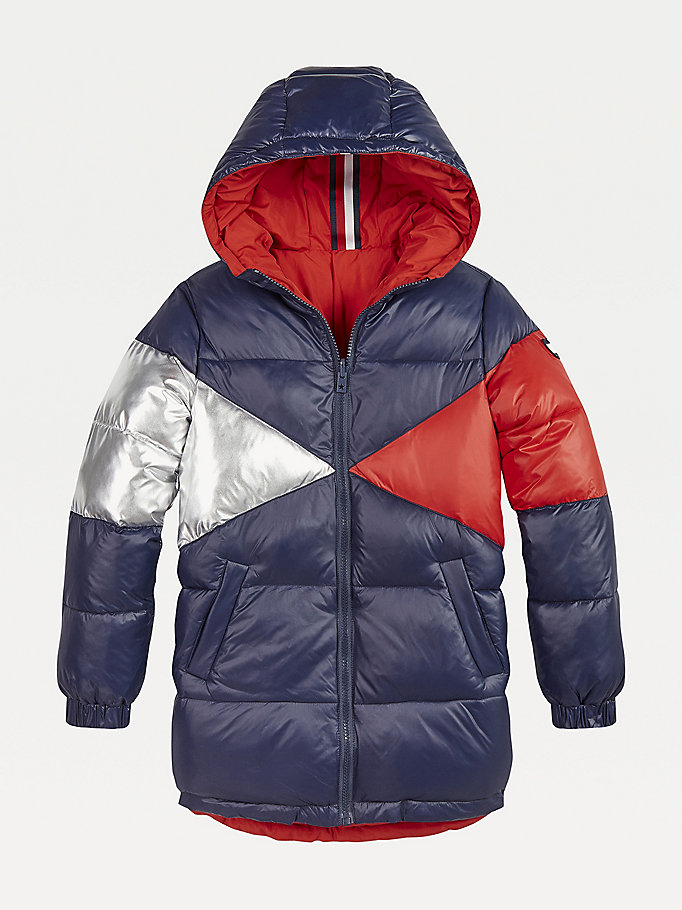 blue iconic reversible hooded puffer parka for girls tommy hilfiger