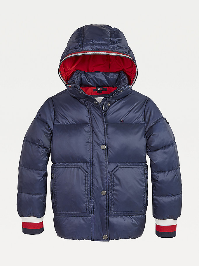 blue essential down-filled puffer jacket for girls tommy hilfiger