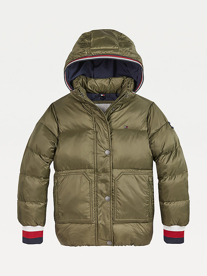 green essential down-filled puffer jacket for girls tommy hilfiger