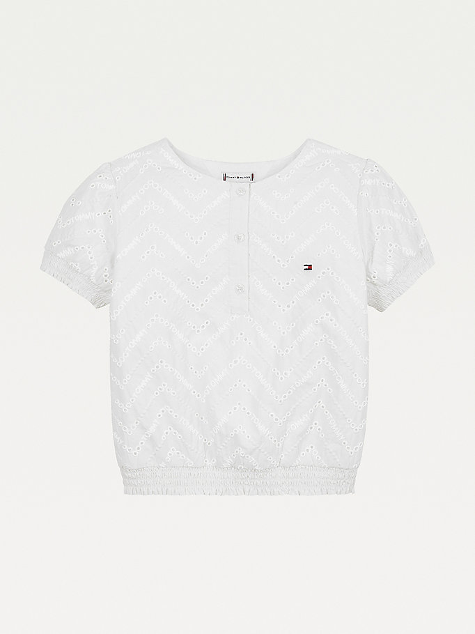 white broderie anglaise elasticated hem t-shirt for girls tommy hilfiger